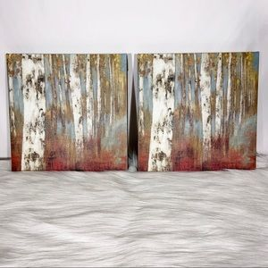 (2) Blue & Brown Tree Canvas Prints
